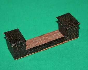 Vintage Dolls House Pit A Pat Fireplace Fender With Rexine Seats 1930's