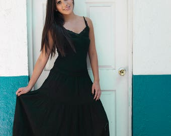 Gauze Black Skirt //Mexican Maxi skirt