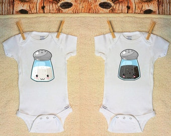 Twin Onesie ®, Twin Set, Sibling Onesie ®, Salt and Pepper Onesie ®, Salt and Pepper, Salt Onesie ®, Pepper Onesie ®, Twin Onesies ®