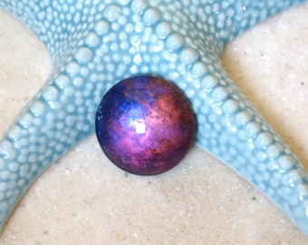Cabochon 30mm purple blue gold copper iridescent / hand painted round /cabochon magnifying glass / cosmic pendant