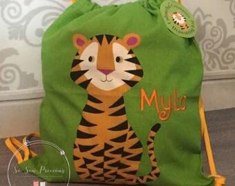 Personalised Child's Drawstring Bag, Rucksack, Tiger, Personalized Bag, nursery school