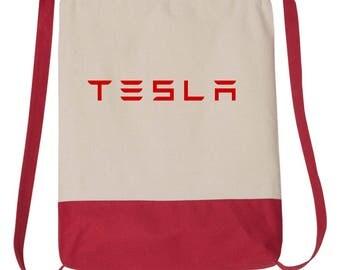 Tesla Model S Model 3 Electric Car Drawstring Backpack Bag #436Bag