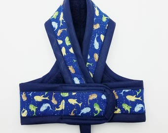 DR SEUSS FISH Cat Harness  / Your Choice border Color/ Walking Butterfly Vest / Ultra Light Design/ Sphynx Cat Clothes & all breeds
