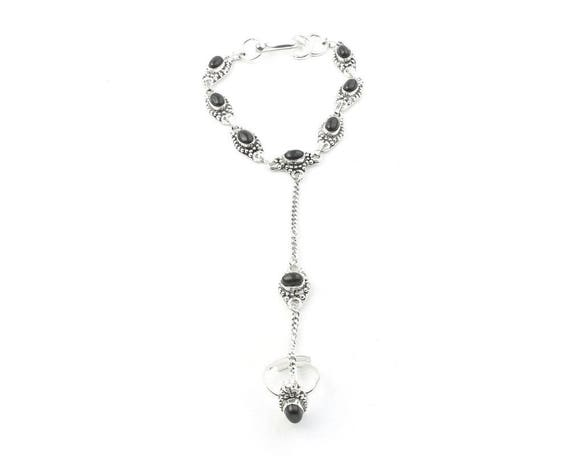 Black Onyx Slave Bracelet, Hand Chain, Ring Connected to Bracelet, Festival Jewelry, Gypsy Jewelry, Boho