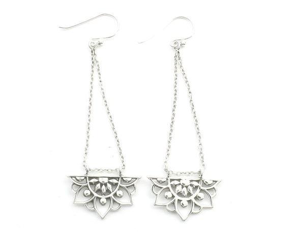 Sterling Silver Mandala Earrings, Chain Earrings, Flower Earrings, Festival Jewelry, Ethnic Jewelry, Boho, Gypsy