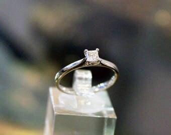 Platinum Princess Cut Diamond Solitaire Engagement or Dress Ring