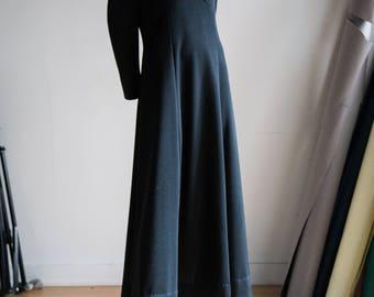 Black Dress | Black Maxi Dress | Black Evening Dress | 70s  Maxi Dress | Black Long Sleeve Dress | Beaded Black Dress | Black Evening Gown |
