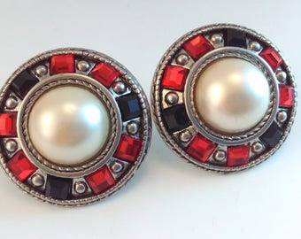 HUGE 42mm, Vintage 1980s clip on earrings, red, black & pearl earrings, 1980s earrings, 1980s vintage earrings, 1980s statement earrings,
