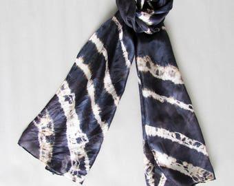 Shibori Silk scarf Art scarf Summer scarf Silk painted scarf Handmade scarf Neck scarf Bridesmaid gift Evening wear Ladies scarf INDI 0220