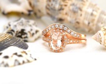 Morganite Engagement ring-14ct/18ct Rose Gold Morganite Ring-Diamond Halo Morganite Engagement Ring-Morganite Bridal Set-Made to Order