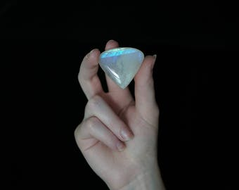 Large Moonstone Cabochon Heart // 118.5 carats // teardrop shape, pear, blue flash, magical stone // 54