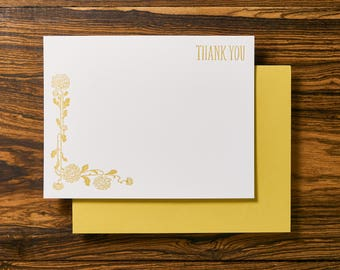 Boho Floral Letterpress Stationery Thank You Note Card