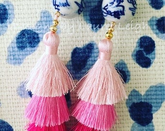 PINK Ombré Layered Tassel Earrings | chinoiserie, ombre, stacked, tiered, triple tassel, blue and white, gold, Chinese, statement earrings