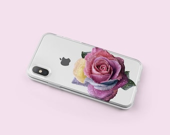 iPhone X Case Rose - iPhone 8 Case Clear - iPhone 6 Case - iPhone 8 Plus Case - iPhone SE Case - iPhone 7 Plus Case - Gift For Her -KT201