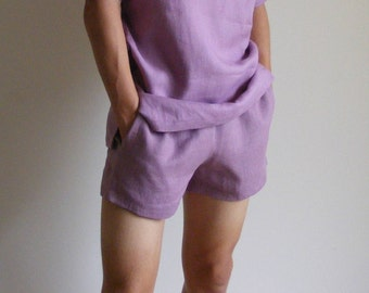 Simply Mens Linen Shorts / Dusty Pink / 100% Linen / Men's Linen Shorts / Boxers / Boxer Shorts