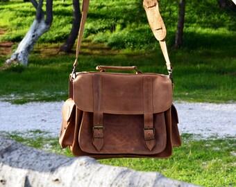 "Men's Leather Briefcase, Waxed Brown Leather Briefcase, 13"" Laptop Bag, Gift for Him, Shoulder Bag, Messenger Bag, Rustic Men's Briefcase"