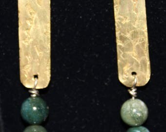 Etched brass dangling earrings with green beads.  (061617-039)