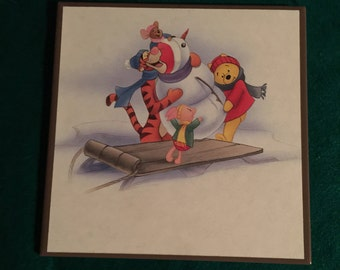 winnie the pooh and tigger sleding down the hill ceramic tile disney