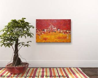 Original abstract structure acrylic painting - color red yellow - 40x60 cm