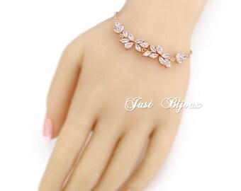Wedding Bracelet Rose Gold Bridal Bracelet Bridesmaid Bracelet Zirconia Bracelet Wedding Jewelry Bride Bracelet Bridal Jewelry Leaf