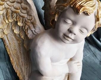 Vintage Angel, ceramic Cherub, Cherub Figurine ,Vintage home decor,sitting  Cherub,sitting  Angel, Angel figurine,