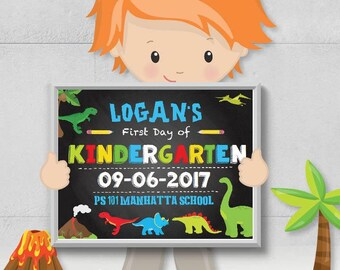 """SELF-EDITING First Day of School Chalkboard-8.5""""x11 First Day Chalkboard Sign-First Day Picture-Pre-K-Kindergarten-First Grade-Any Age-903-3"""