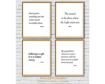 Printable Rumi Quote,set of 4 Prints,Printable Wall Art print,Inspirational,Instant Download Printable Art, Digital Print,Digital Download