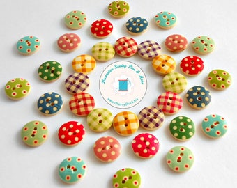 Gingham buttons - Polka dot wood buttons - Wooden buttons - Two hole buttons - Buttons for Sewing - Quilting buttons - Cherry Chick
