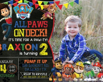 PAW PATROL Birthday Invitation with Photo! Digital File, Print at Home.