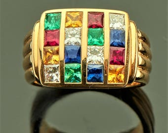 MOZAIQUE COLLECTION Fine Jewelry with multicolor compositions of calibrated rectangular precious stones of different colors.