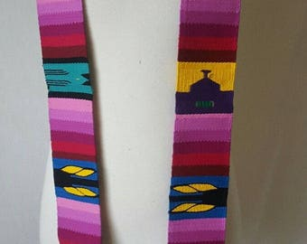 Handwoven Ornate Multi-Color Guatemalan Clergy Priest Stole w/Religious Scenes Indigenous Priest Vestment Religious Clothing Catholic Wear
