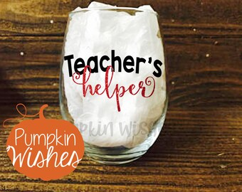 Teacher Appreciation/Teacher Gift/After School Snack/Wine Glass for Teacher/End of the Year Teacher Gift/Gifts for Teacher/Teacher's Helper