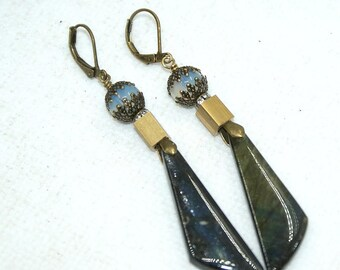Earrings Labradorite and Obsidian