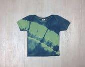 Organic Shibori Newborn T Shirt - New Mom Gift - Tie Dye - Eco Friendly - Baby Shirt - 12-18M - Blue Indigo Shibori - Infant Clothing