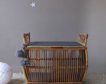 Chest rattan, rattan, rattan fittings, toy box bench chest, vintage furniture
