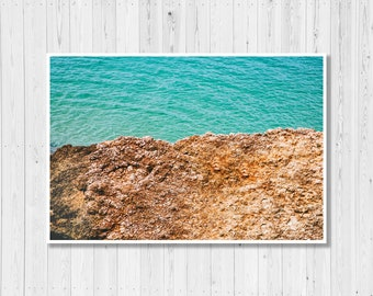 Coastal Abstract, Coastal Print, Coastal Decor, Ocean Photography Print, Coastal Wall Decor, Blue, Brown, Modern, Minimalist, Wall Art