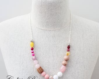 Pink Gemstone necklace Pink and yellow necklace Quirky Necklace Asymmetrical Necklace Mummy and Daughter necklace - Strawberry Diaquiri