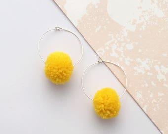 Pom Pom Earrings, Colour Pop earrings, pom poms, pom pom hoop earrings, colour pom poms, pom pom gift, pom pom jewellery, pom pom jewelry