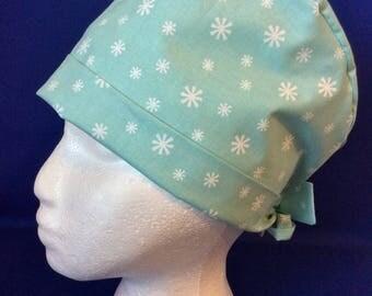 Scrub Hat//Pixie-Style//Christmas//Snowflake//Light Blue