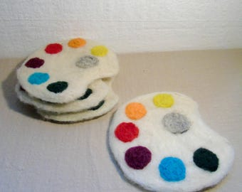 Painter's Palette Coasters, Artist Coasters, Paint Coasters, Fibre Art Coasters, Artist Gifts, Painters Gifts, Needle FElted Coasters