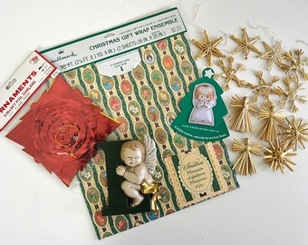 vintage lot of Christmas gift wrap garland angel brooch christmas straw ornaments letter L burwood wallmount angel decor