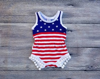 Patriotic Pom Pom Romper American Flag Romper Girls 4th of July Outfit Memorial Day Baby Girl Toddler Summer Outfit Labor Day Cake Smash USA