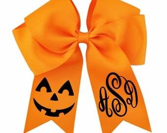 Monogram Halloween Hair Bow-Girls Halloween Hairbow-Pumpkin Hair Bow-Girl Halloween Outfit-Kids Halloween Cheer Bow-Pumpkin Hair Bow