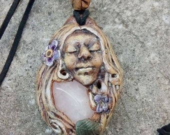 Mother Earth Goddess Necklace, Rose Quartz