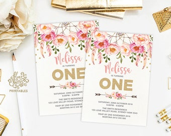 Boho First Birthday Invitation. Pink and Gold 1st Birthday Printable Invite. Bohemian Dreamcatcher  Feathers  Watercolor Flowers. FLO12A