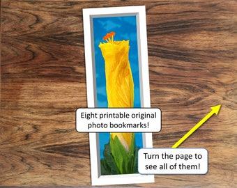 Eight printable DIY bookmarks of original and unusual flower photos, plant photos, and botanical photos