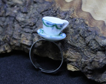 China / porcelain tea cup and saucer, adjustable ring. Hand made, Unique, Upcycled, Dolls House accessories.