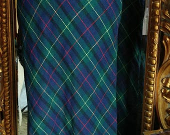 Vintage 1970's Priesige Of Boston Blue and Green Plaid Maxi Skirt