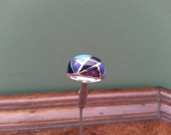 Vintage Sterling Silver and Stone Inlay Ring - Size 7
