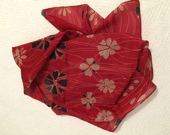 Vintage Red Flowered Ponytail or Neck Scarf